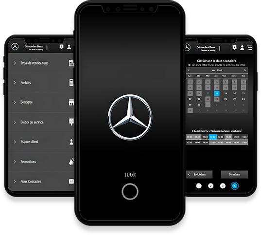 Conception, développement et publication de l'application mobile Mercedes-Benz par l'agence web et mobile Majjane.