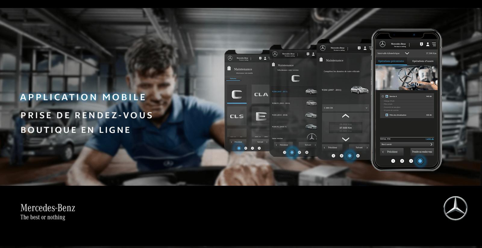 Développement du l'application mobile Mercedes par l'agence web et mobile Majjane.
